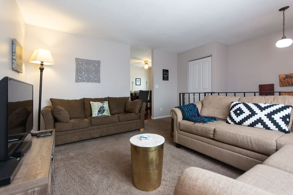 Spacious upper family room-lots of seating, pull out queen couch, TV, DVDs, wifi, and books and games!