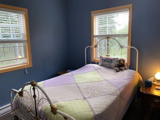 Double bed with lots of natural light.