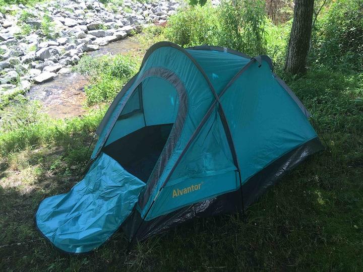 Rustic campsite by a creek
