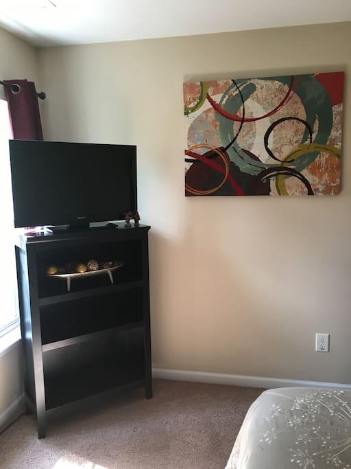 TV with firestick in bedroom