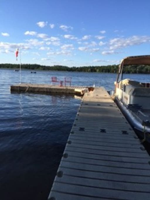 Floating dock with pontoon availability. Sit and fish or swim.