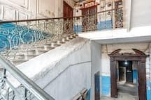 wide marble staircase