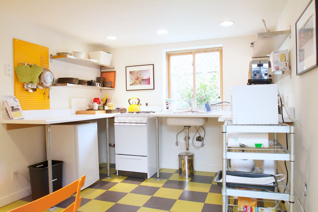 Bright, well-equipped kitchen.