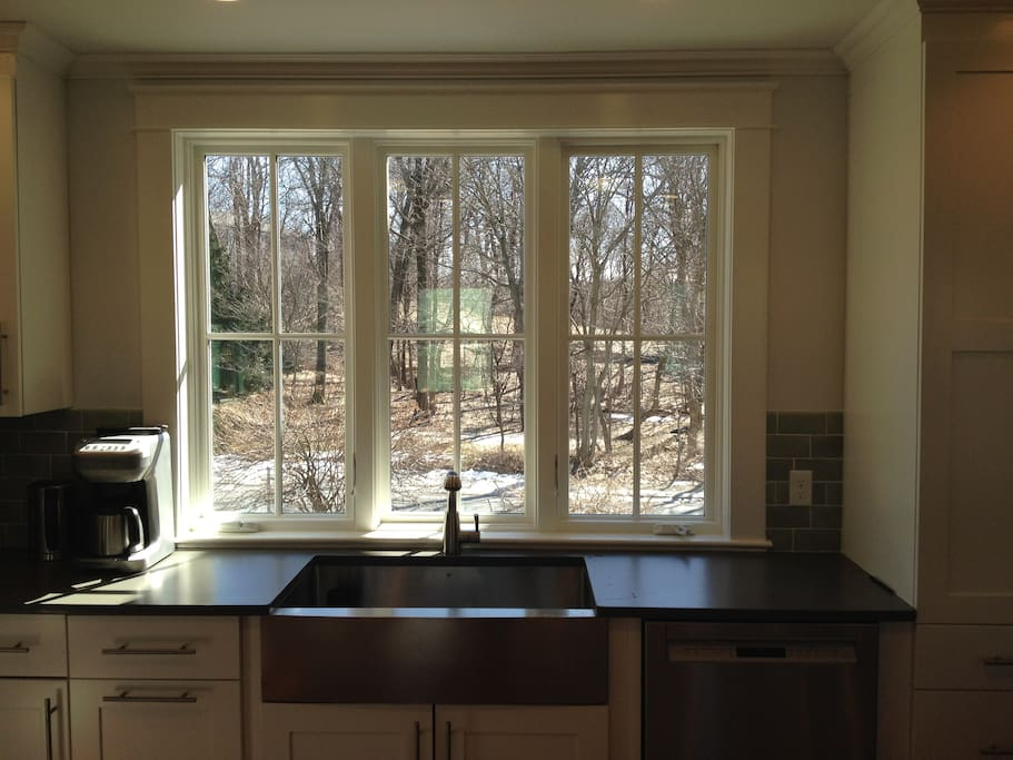 Home is on a quiet dead-end street, kitchen looks across to forest - this is a stunning view in the Spring.