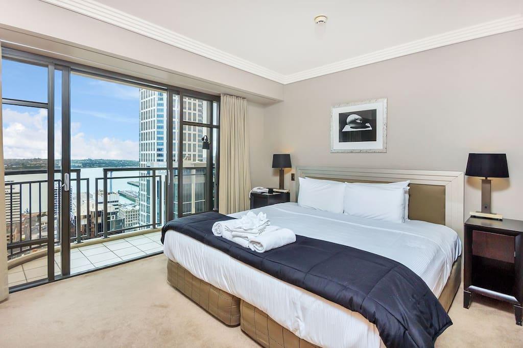 Bedroom has a super king bed