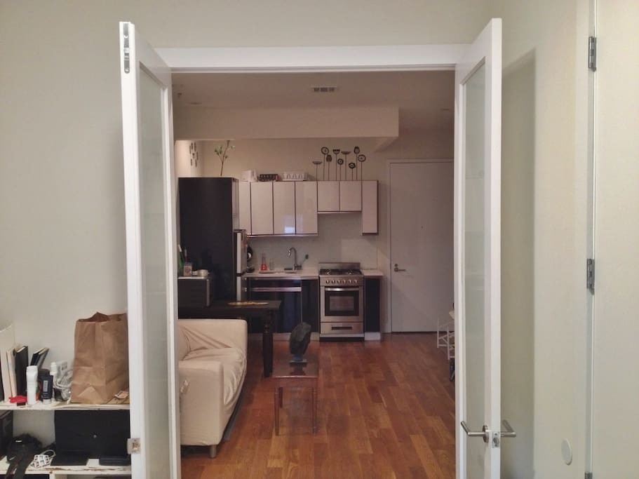 From inside the room to the kitchen