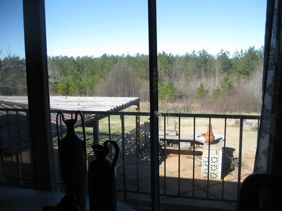 views over back yard with fenced yard just for guests + grill