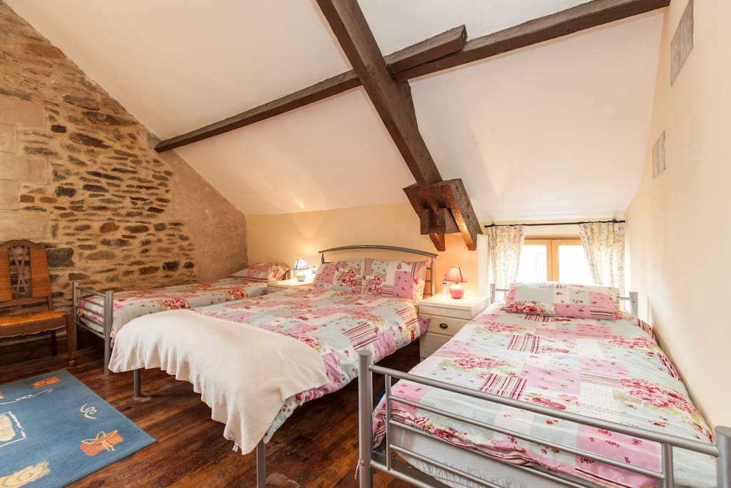 Double bed and 2 single beds if required.