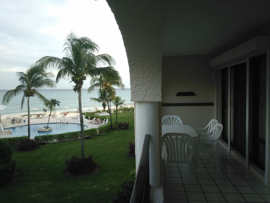 Balcony to Pool area and the beach