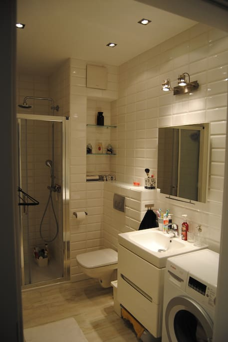 Bathroom with a shower and a new washing machine.