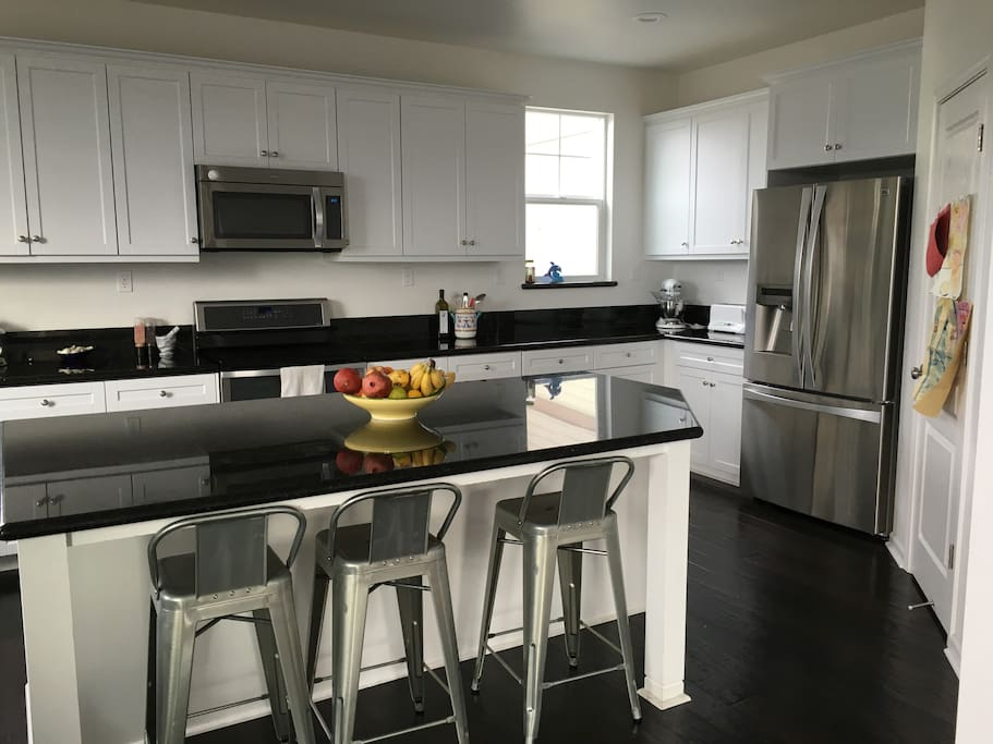 Kitchen with induction stove top, stainless steel appliances and all other cooking and baking appliances you would need.