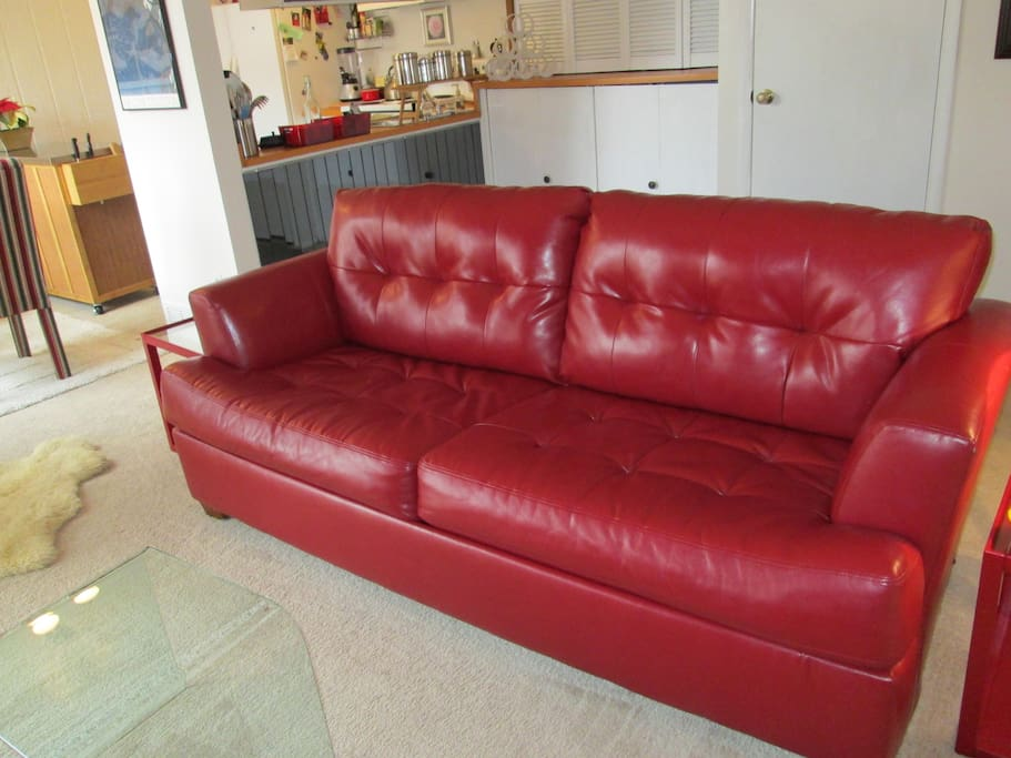 Leather Couch with comfy full size sleeper bed