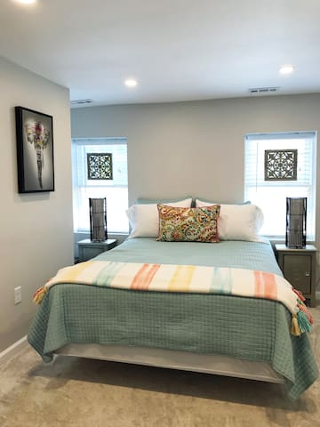 Comfy beds and calming decore make for a good night's sleep.