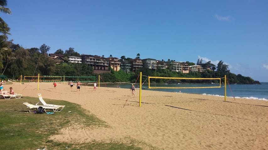 Volleyball courts on the beach.