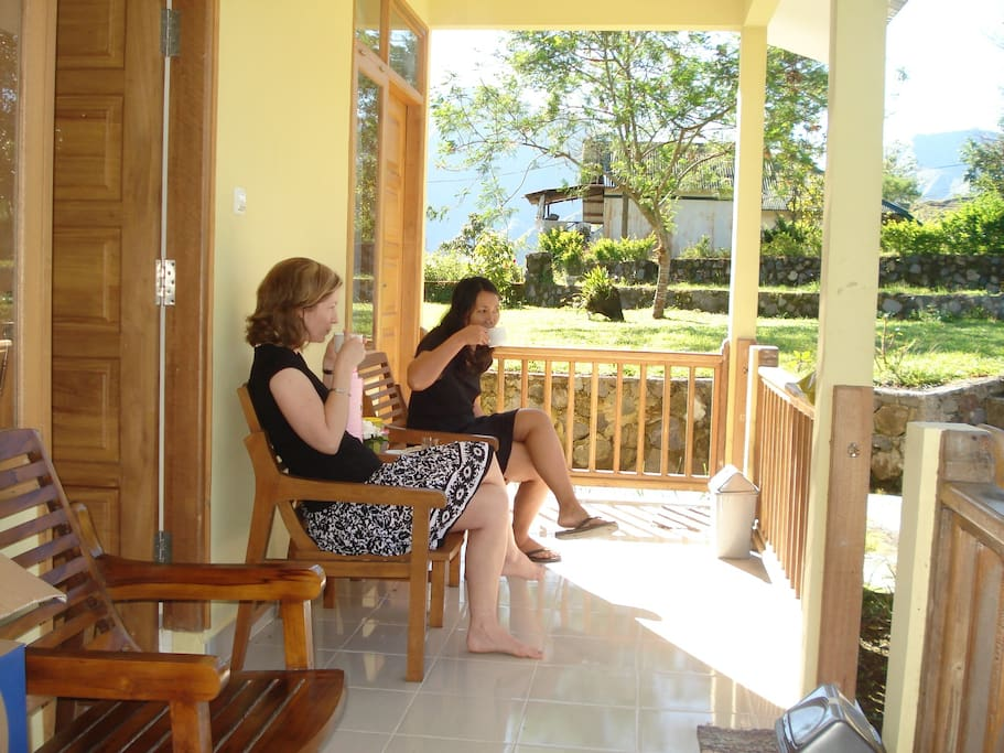 relaxing at the porch enjoying Mount Rinjani in the morning