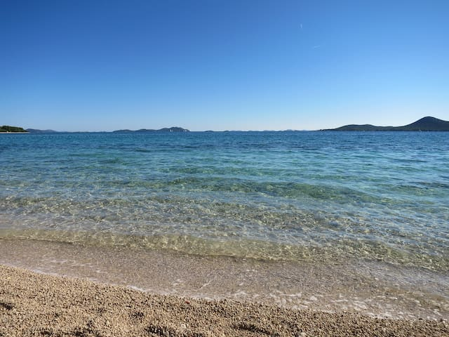 beach! on the horizon you see the Islands of the national park of Kornati