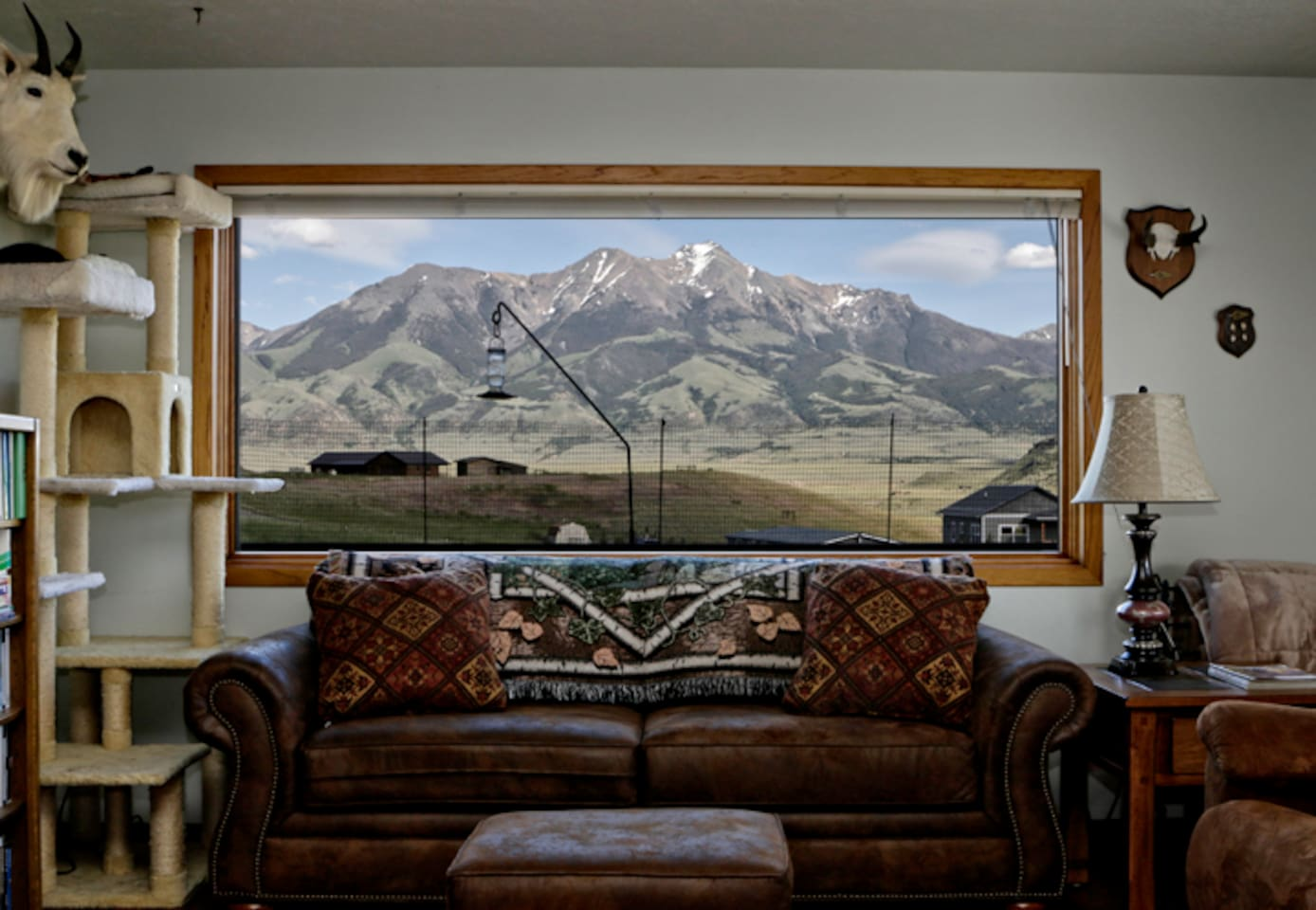 Here's your view of Emigrant Peak from the living room. It was taken from the love seat.