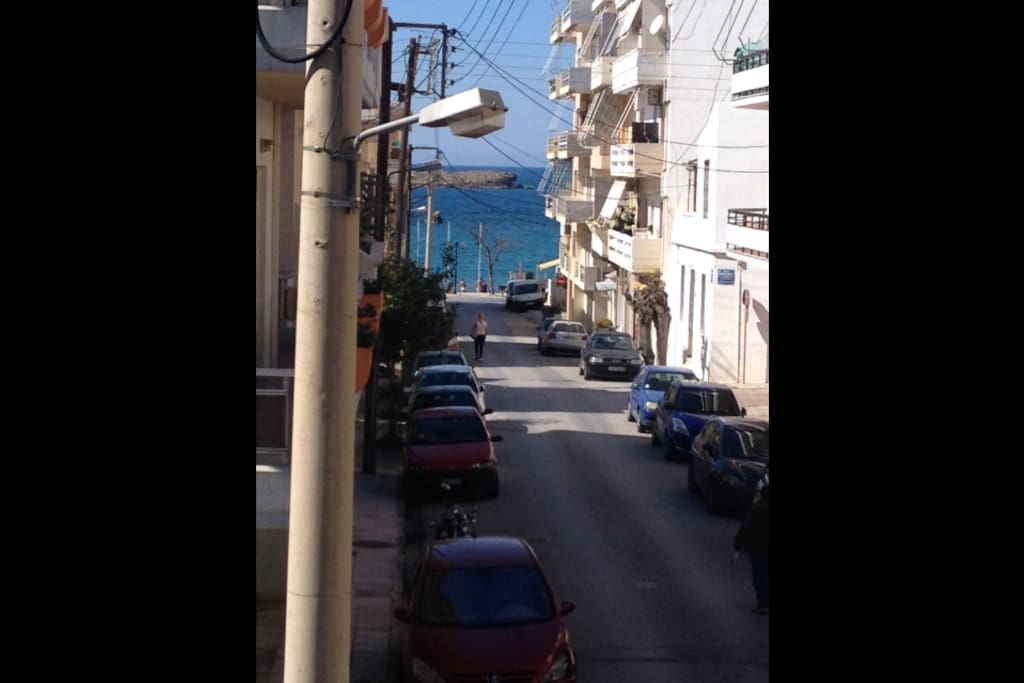 view from the front balcony!nea chora beach is just few meters away!