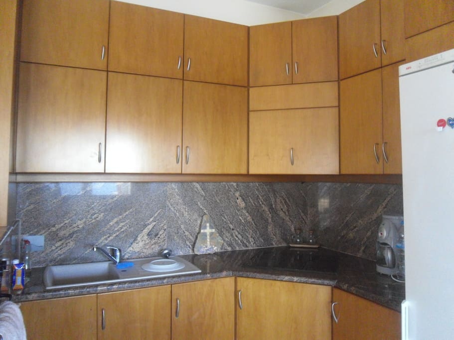 Spacious kitchen equipped with hot plate, oven, cutlery, cooking amenities