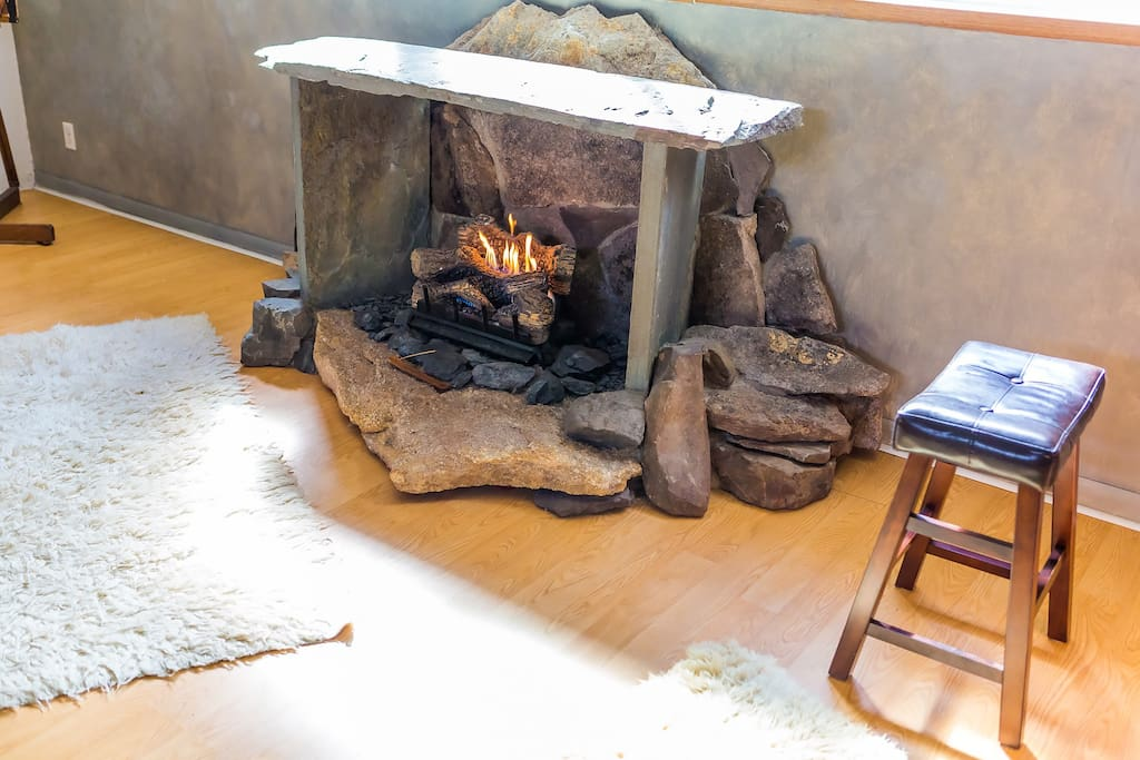 Unique stone crafted fireplace