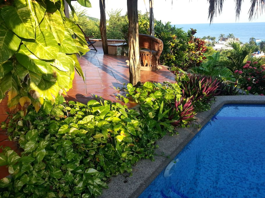 Private plunge pool right outside the living areas; great for a late night dip!