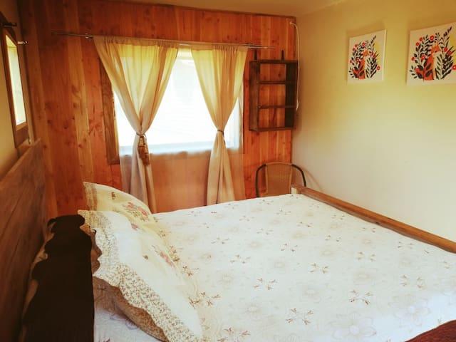 Cabaña 1 dormitorio vista al volcan full equipada.
