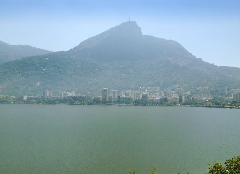 Panaromic view of Corcovado (Christ) and Lagoa Rodrigo de Freitas (the lake)
