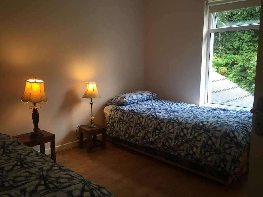 Large quiet bedroom with 2 single beds with built in wardrobe, overlooking back garden and trees