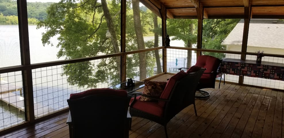 The screened in porch provides pleasant  mosquito free views of the lake.