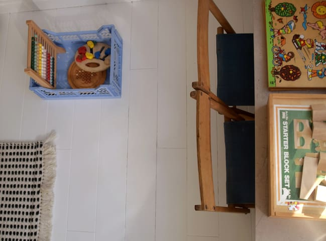 Lots of wooden vintage toys.