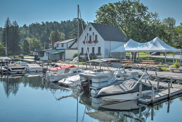 In the summer, enjoy a cup of coffee on the harbor patio looking out across the water.  Summer evening  concerts also play here - free to everyone!