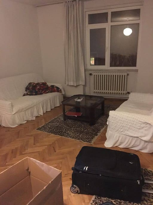 it is from the first day we moved here. now there isn't any bag or package in the room:)