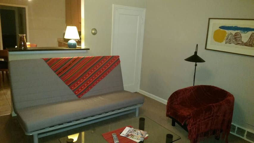 Welcoming living room with futon for extra guest.