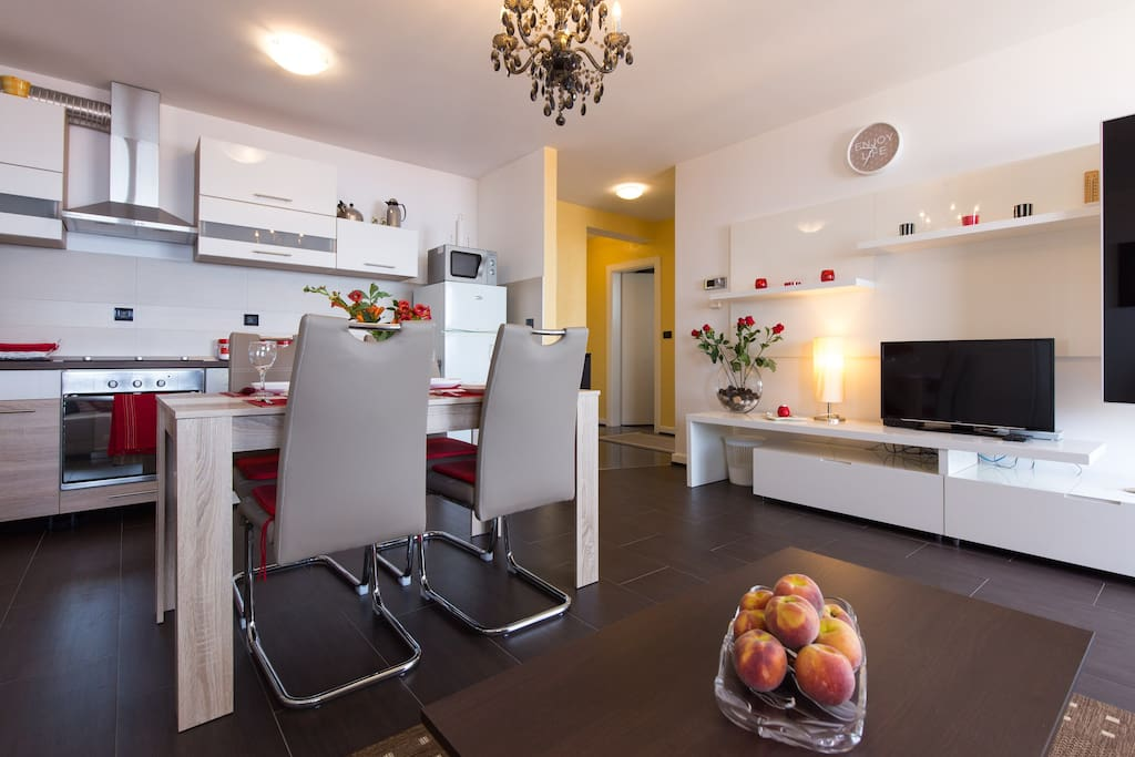 stay in a large, newly equipped apartment