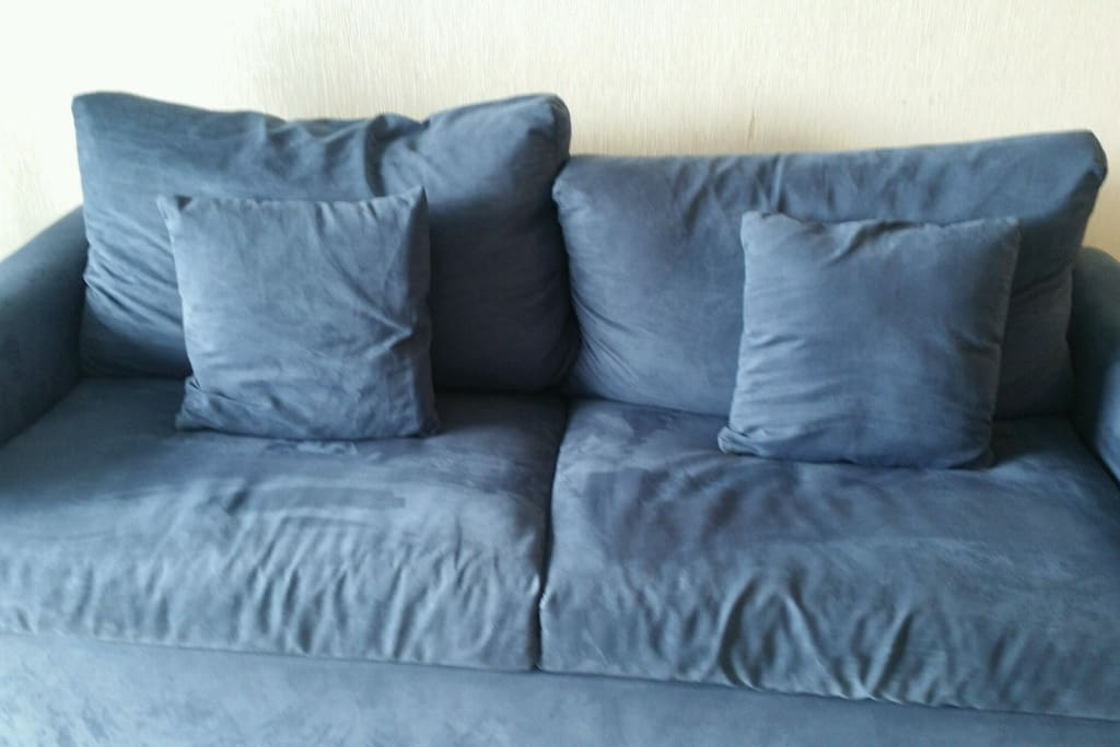 This is the current sleeper sofa that replaced the striped one shown in some of the photos!  :)