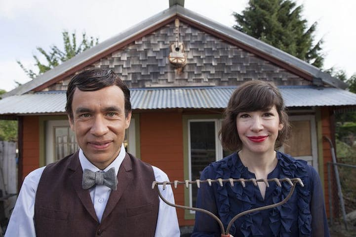 This is Carrie Brownstein and Fred Armisen of Portlandia in front of my Ceramics Studio! Check out the Season 4 clip of Rent-It-Out featuring this house! So fun to have them here! Photo courtesy of IFC.
