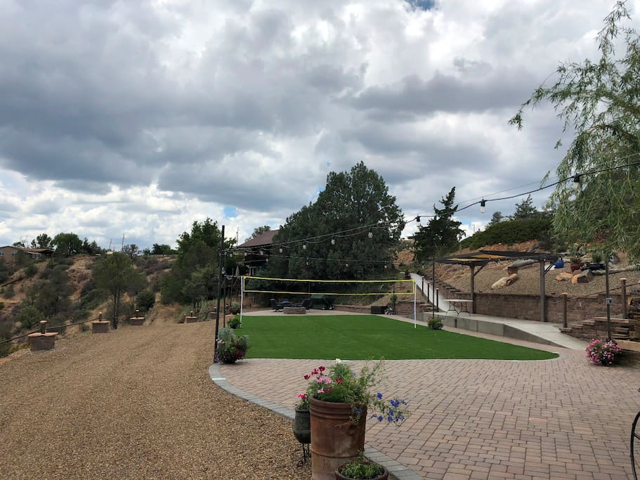 NEW Patios with Firepit, Outdoor Kitchen, Turf for Badminton, Croquet, Games