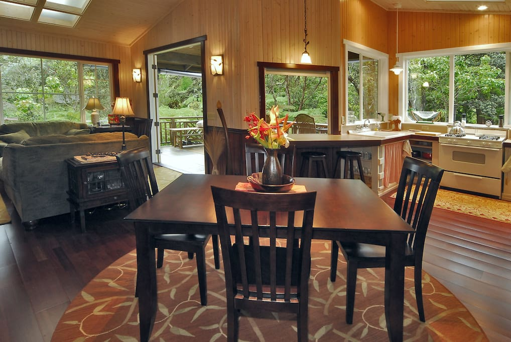 Dining area in an open floorplan.