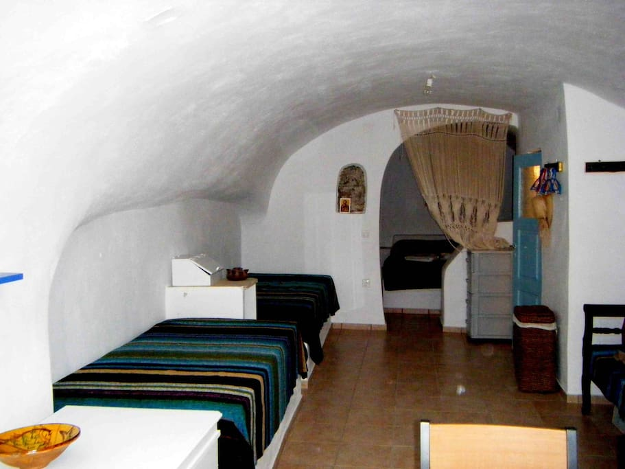 view of the 2 single beds in the living space
