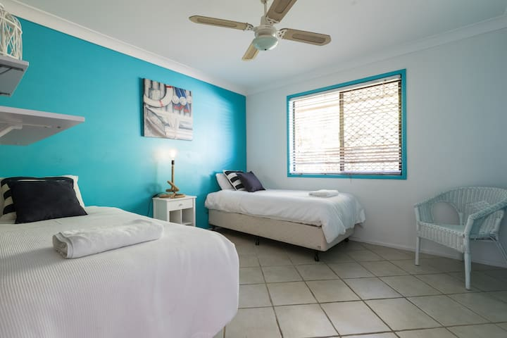The third bedroom comes with two single beds, which can be converted into a king-sized bed on request.