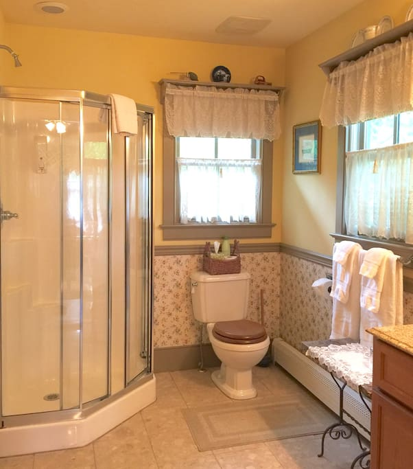 Newly renovated private bath with shower