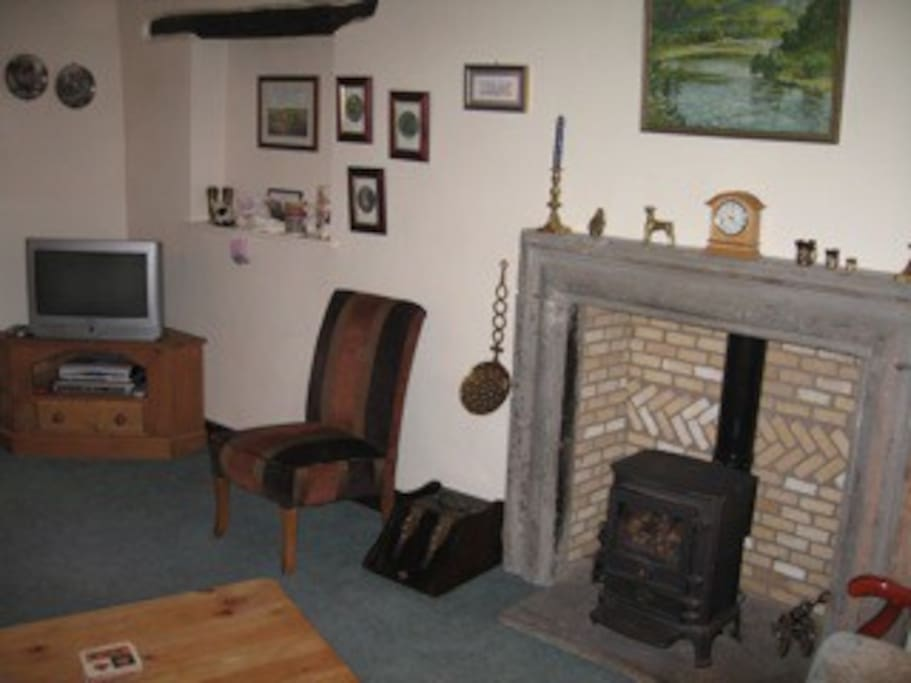 The lounge and fireplace