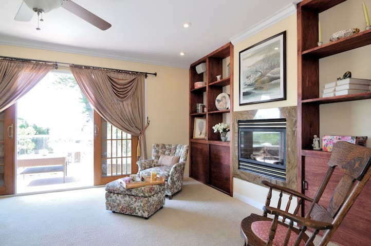 Small fridge and your own gas fire place with remote control