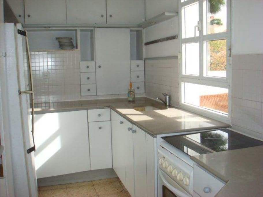 Open kitchen with lots of storage