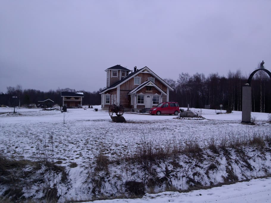 Our house from the road in wintertime.