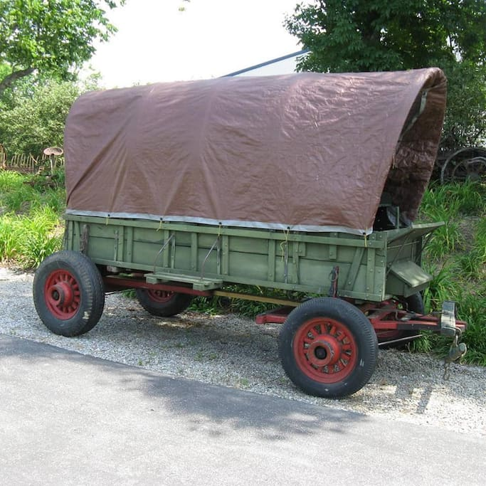The covered wagon has arrived from Kentucky! Huzzah! Ready for camping and chuckwagon cookouts.