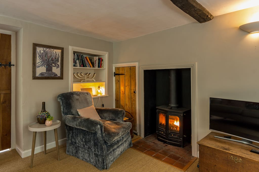 Great wood burner and smart Samsung tv.
