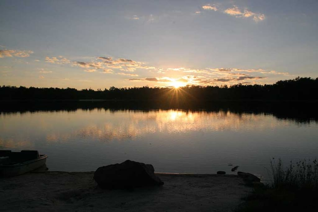 sunset view over lake from property