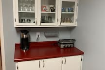 Island in the kitchen. Coffee maker available.