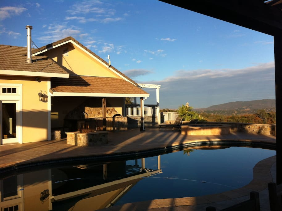 Sunset view of the pool.